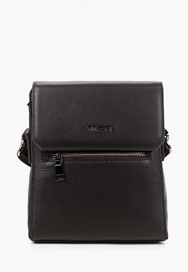 мужская сумка через плечо vitacci, коричневая