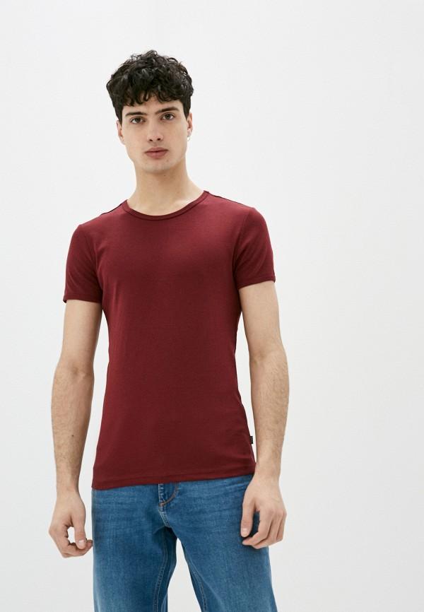 мужская футболка с коротким рукавом colin's, бордовая