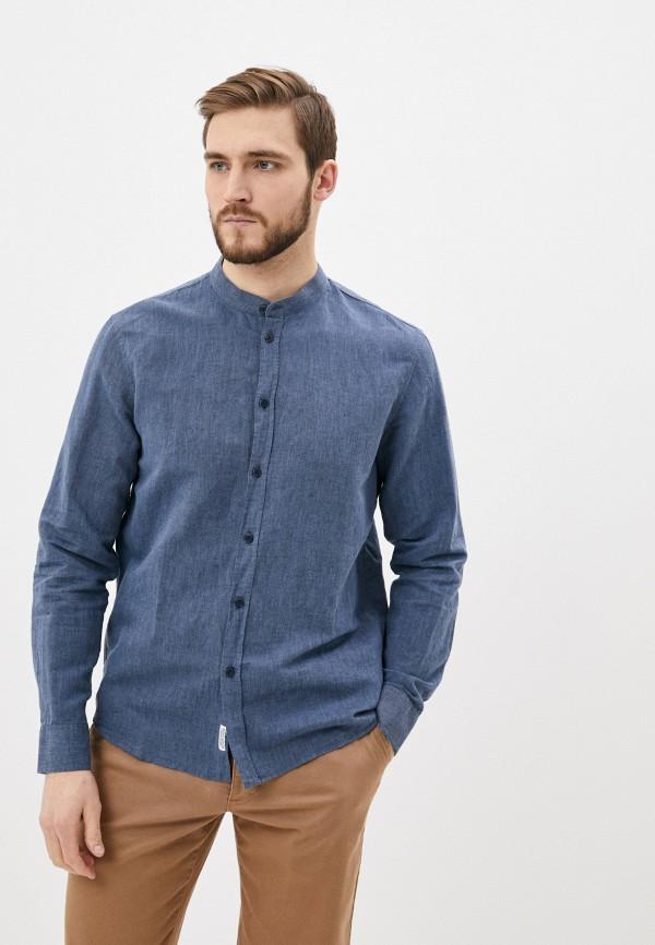 мужская рубашка с длинным рукавом baon, синяя