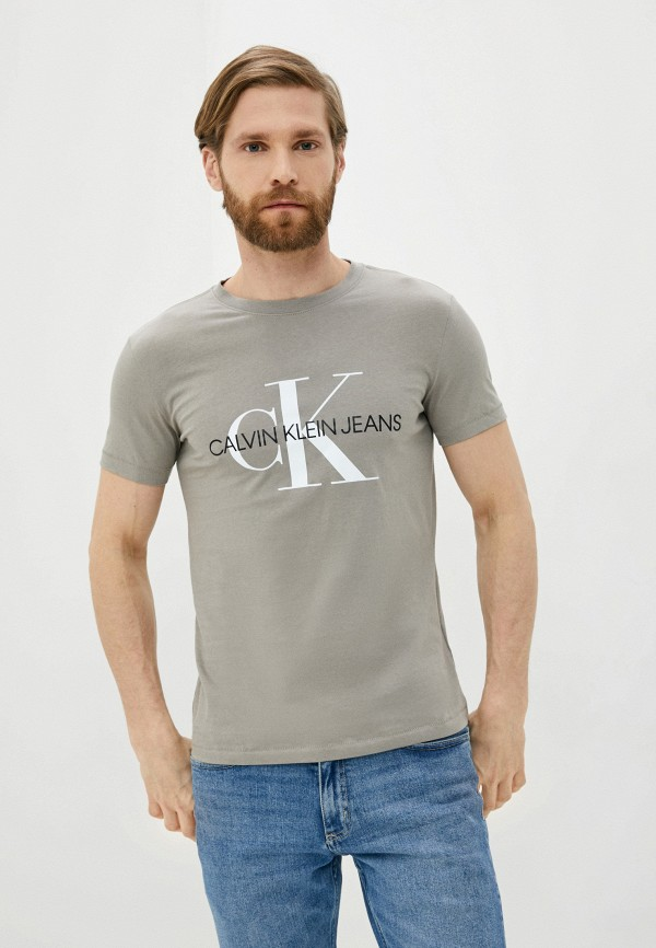 мужская футболка с коротким рукавом calvin klein, серая