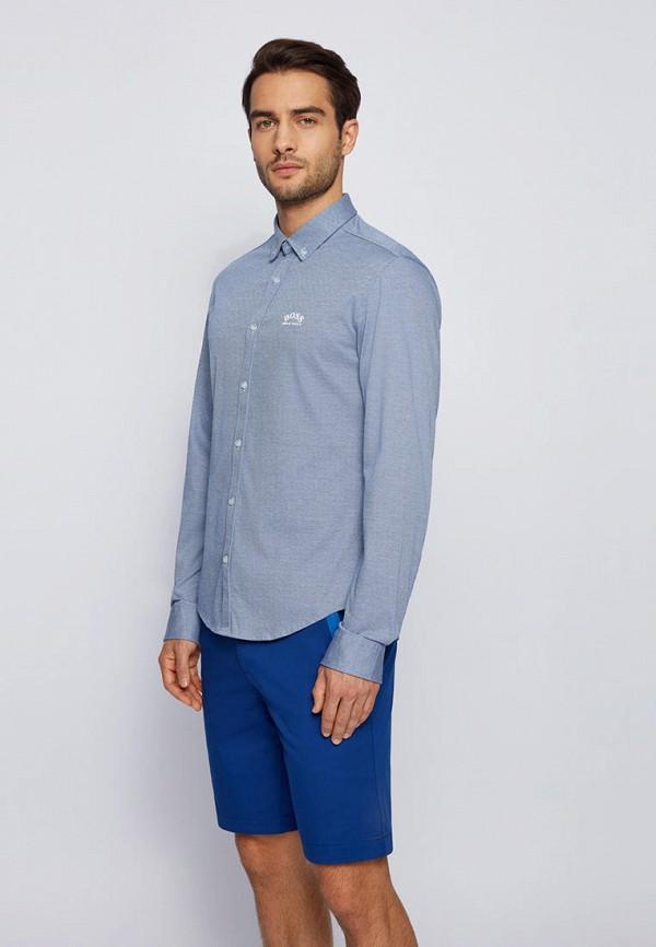 мужская рубашка с длинным рукавом boss, голубая