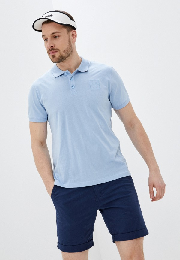 мужское поло с коротким рукавом baon, голубое