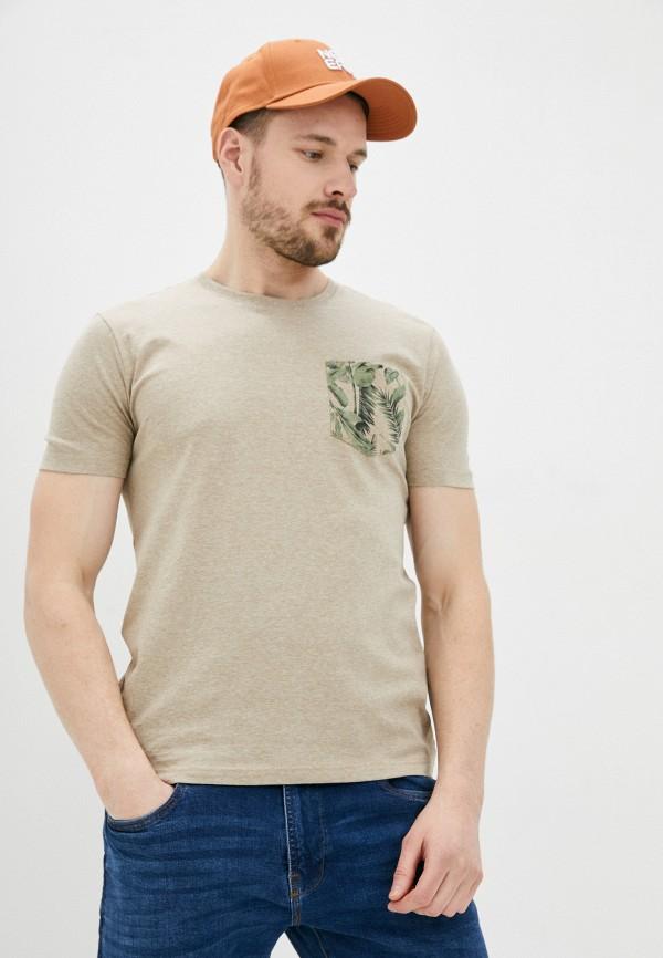 мужская футболка с коротким рукавом o'stin, бежевая
