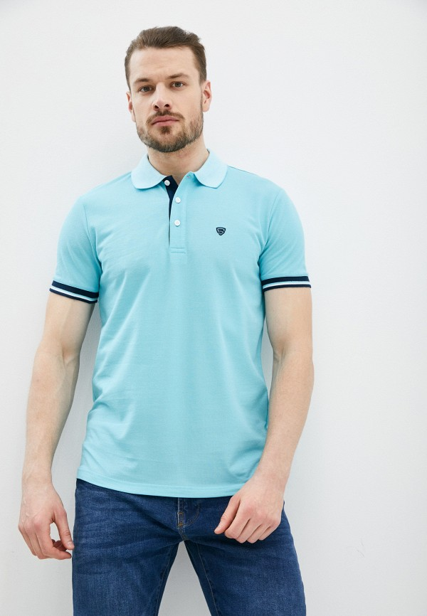 мужское поло с коротким рукавом o'stin, голубое