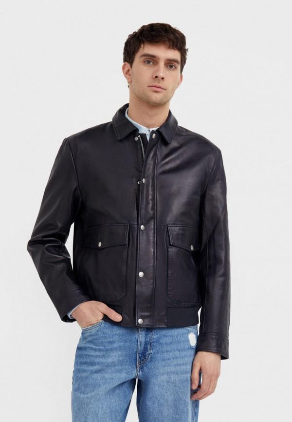 Куртка кожаная Finn Flare синего цвета