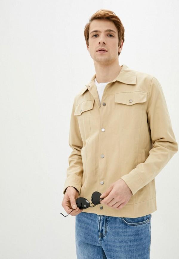 мужская джинсовые куртка react, бежевая