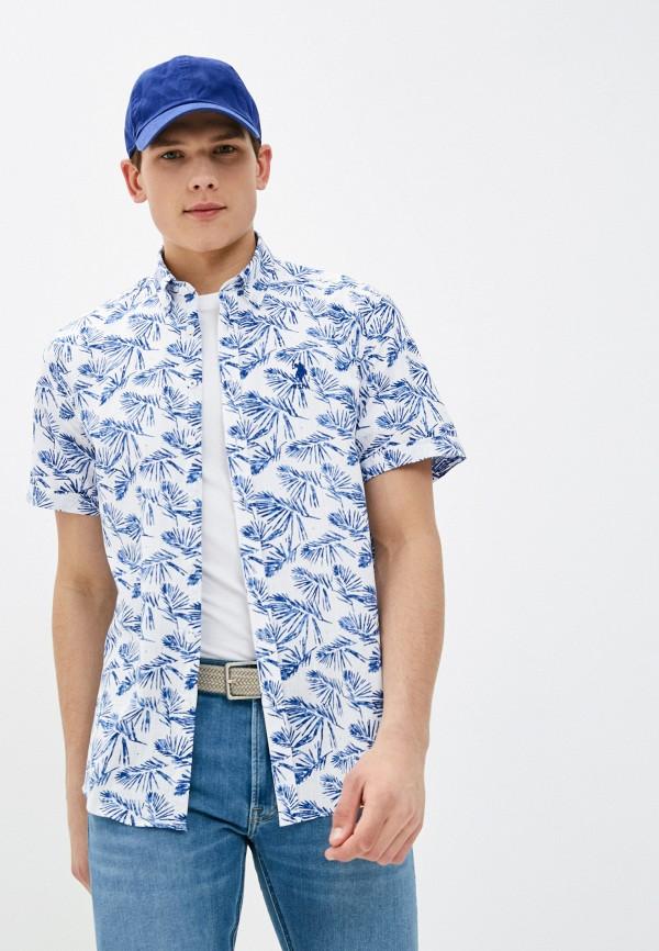 мужская рубашка с коротким рукавом u.s. polo assn, голубая