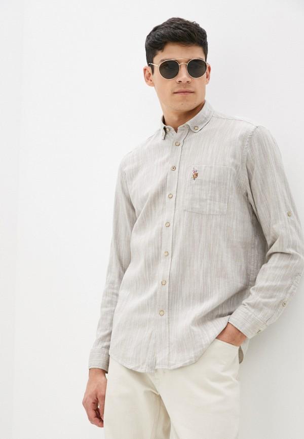 мужская рубашка с длинным рукавом u.s. polo assn, бежевая