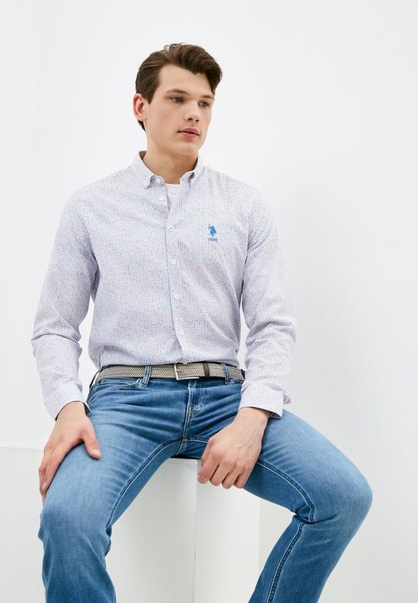 мужская рубашка с длинным рукавом u.s. polo assn, серая