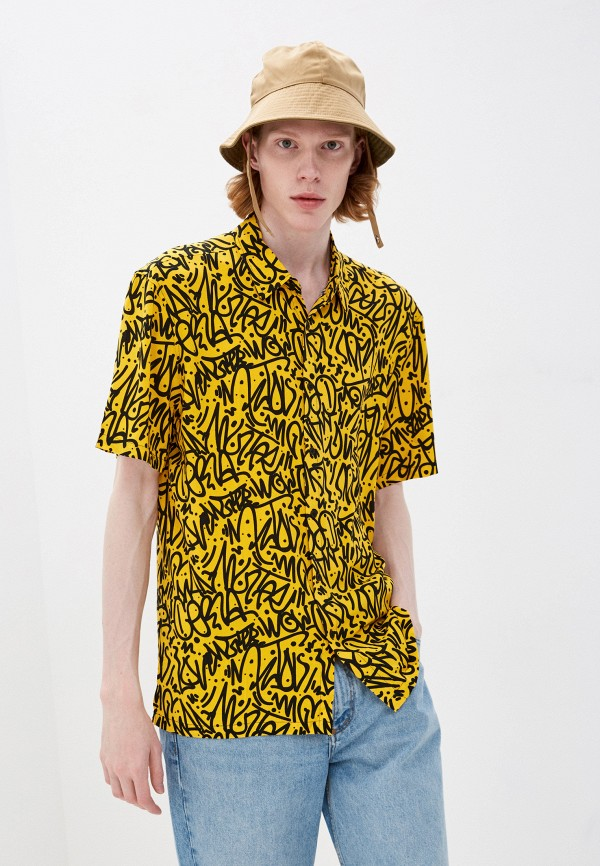 мужская рубашка с коротким рукавом befree, желтая