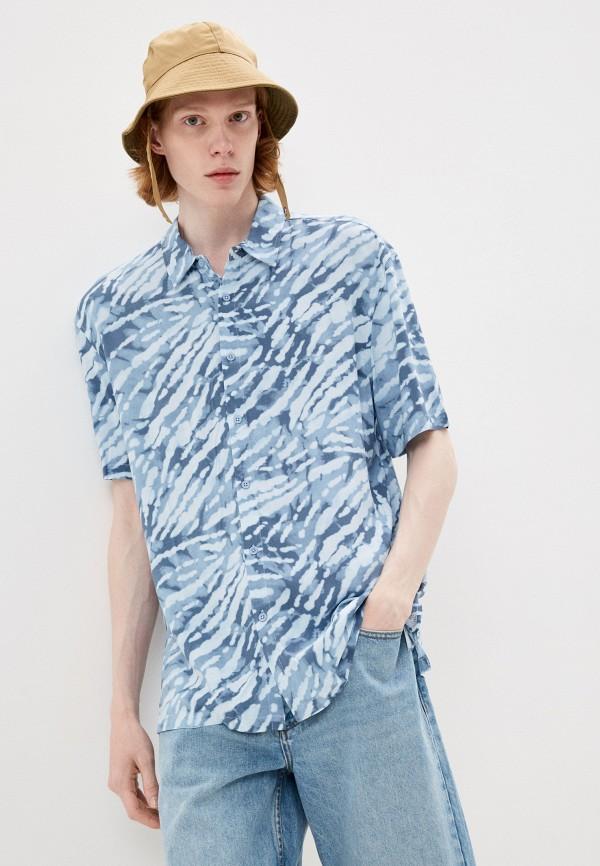 мужская рубашка с коротким рукавом befree, голубая