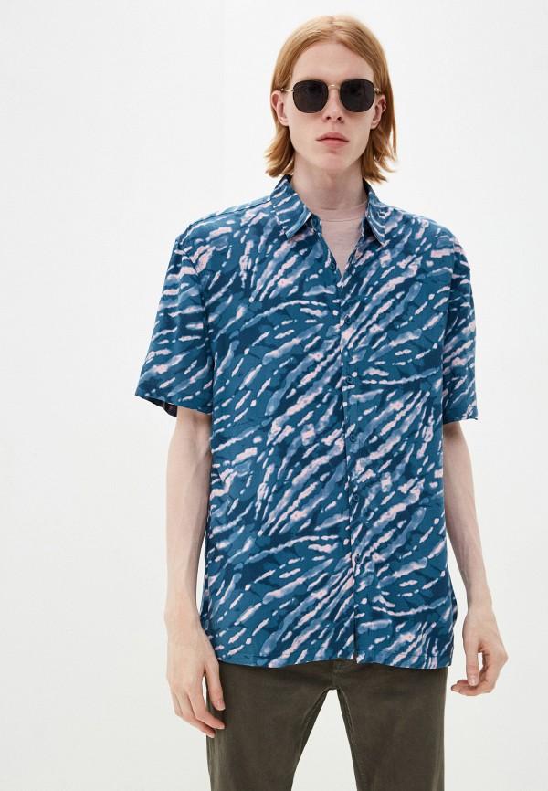 мужская рубашка с коротким рукавом befree, бирюзовая