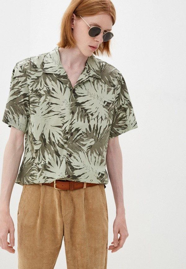 мужская рубашка с коротким рукавом befree, зеленая