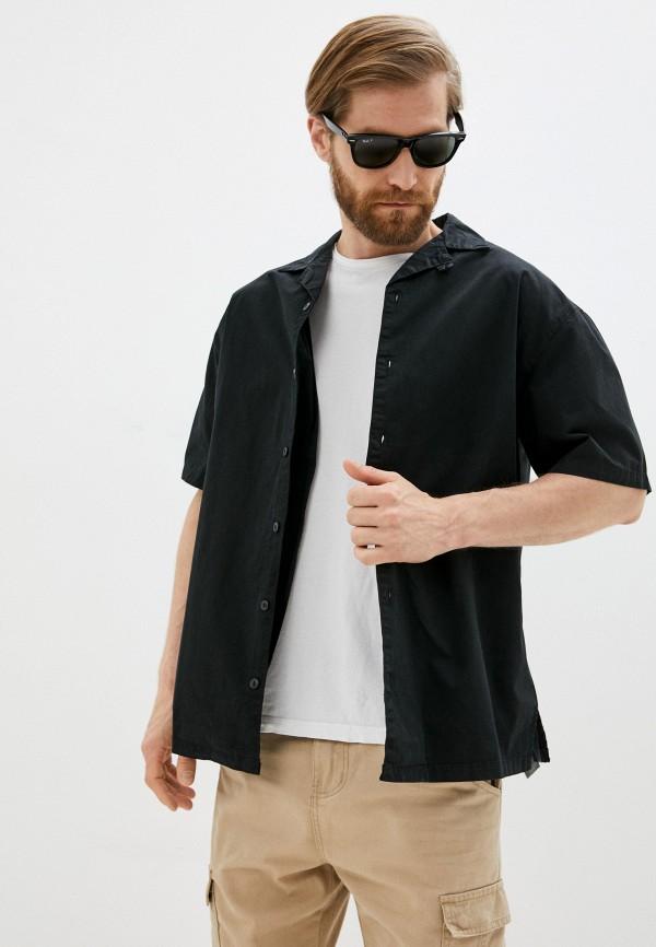мужская рубашка с коротким рукавом befree, черная