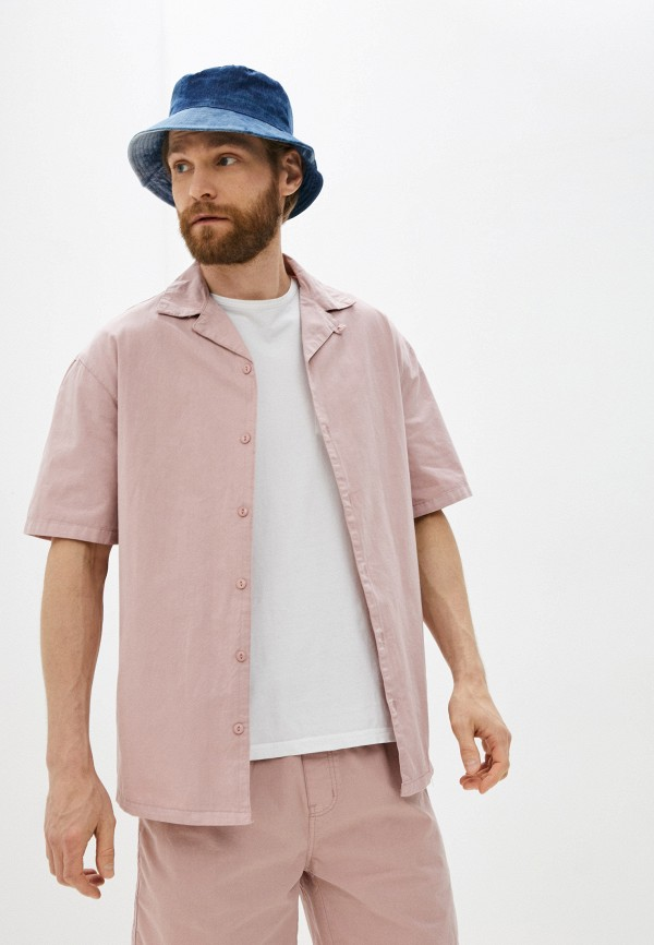 мужская рубашка с коротким рукавом befree, розовая