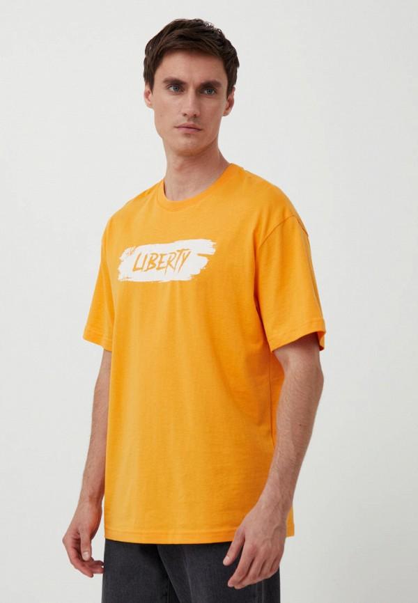 мужская футболка с коротким рукавом finn flare, оранжевая