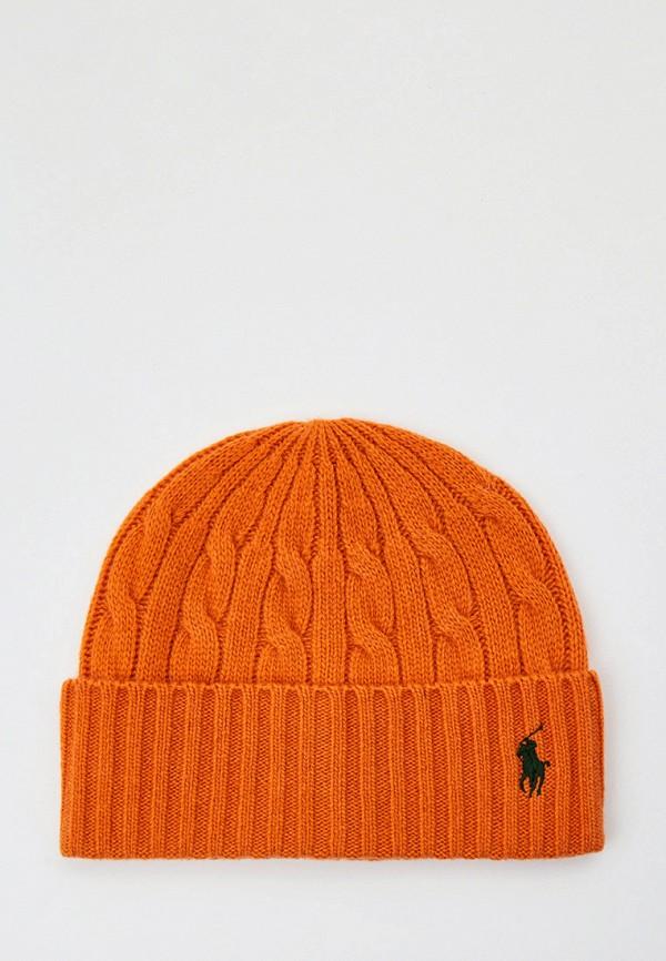 мужская шапка polo ralph lauren, оранжевая