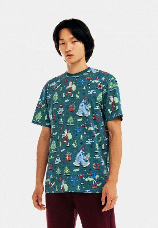 мужская футболка с коротким рукавом befree, бирюзовая