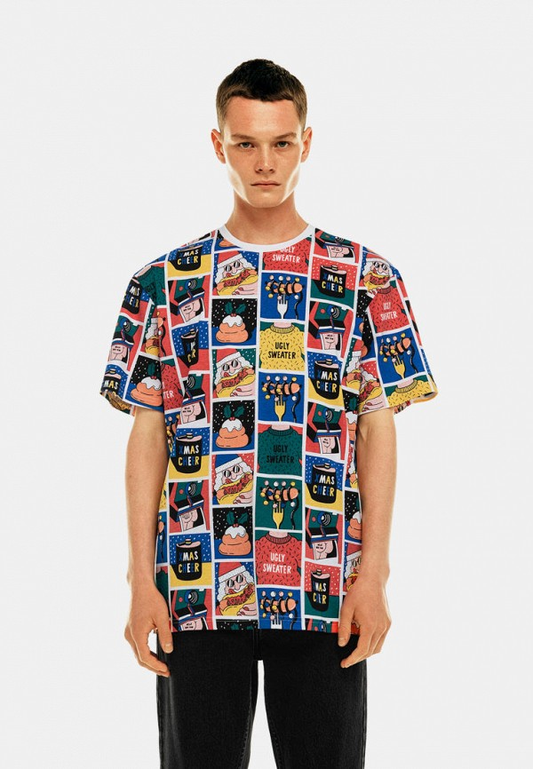мужская футболка с коротким рукавом befree, разноцветная