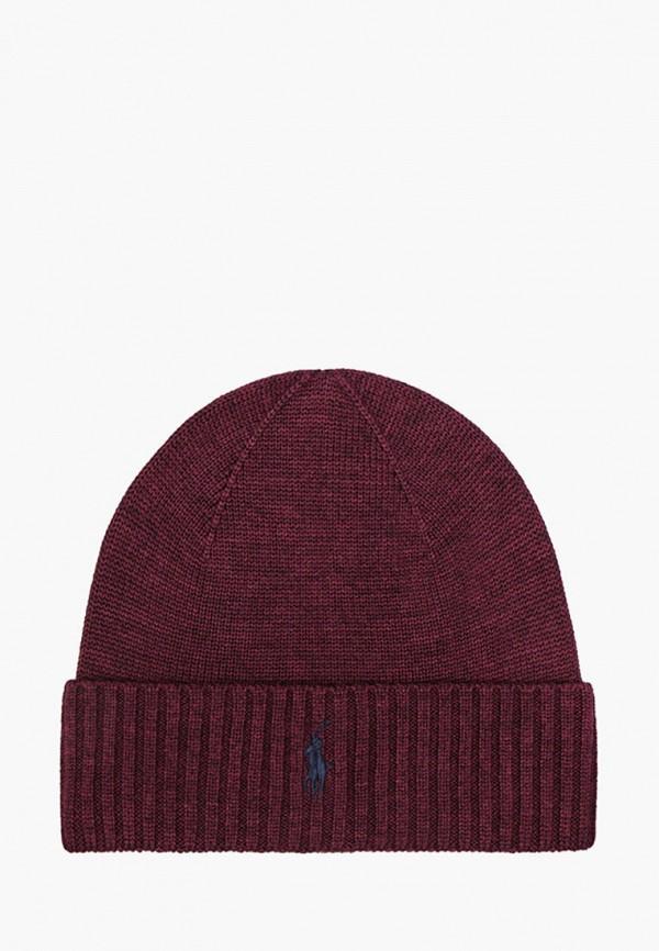 мужская шапка polo ralph lauren, бордовая