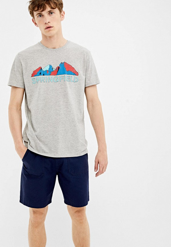 мужская футболка с коротким рукавом springfield, серая