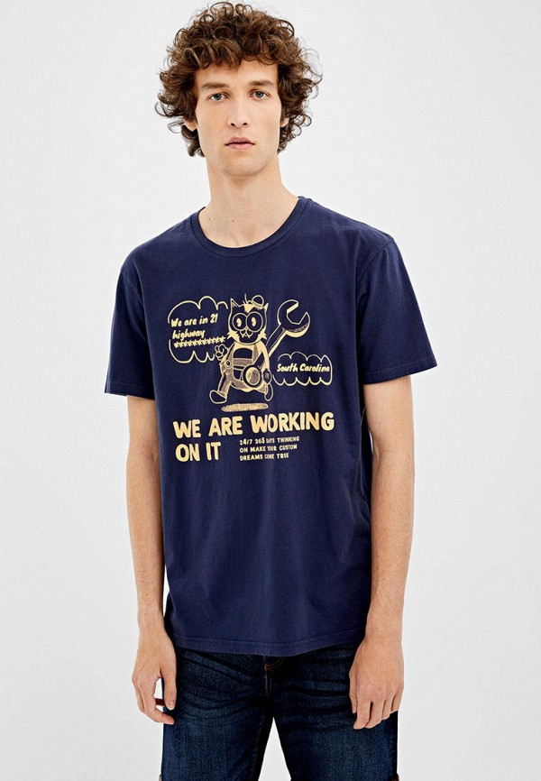 мужская футболка с коротким рукавом springfield, синяя
