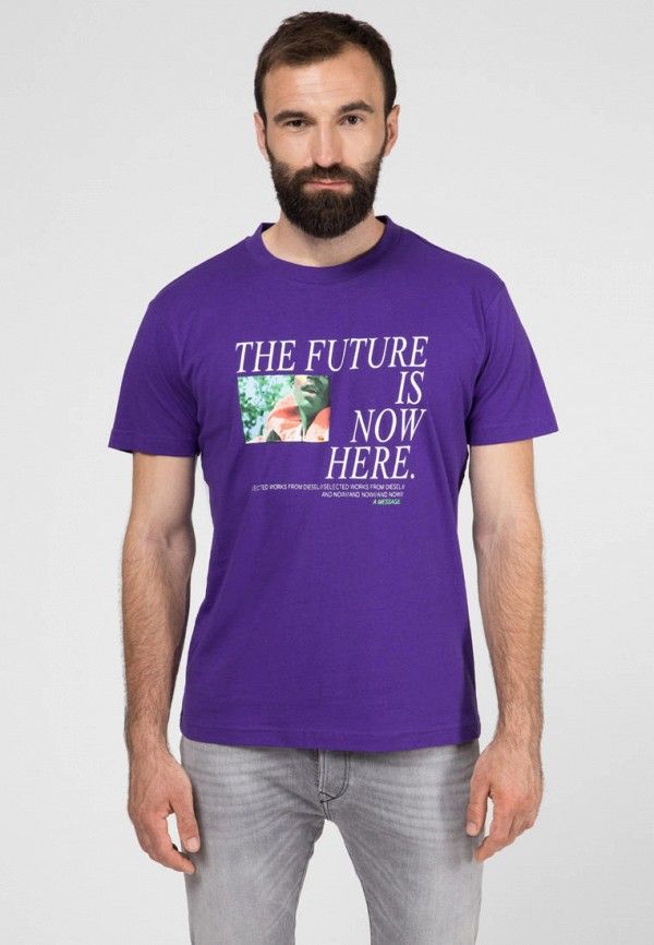мужская футболка с коротким рукавом diesel, фиолетовая