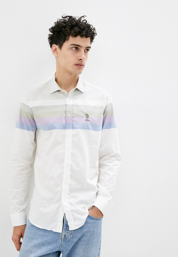 мужская рубашка с длинным рукавом u.s. polo assn, белая