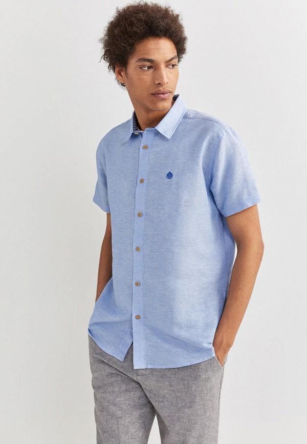 мужская рубашка с коротким рукавом springfield, голубая