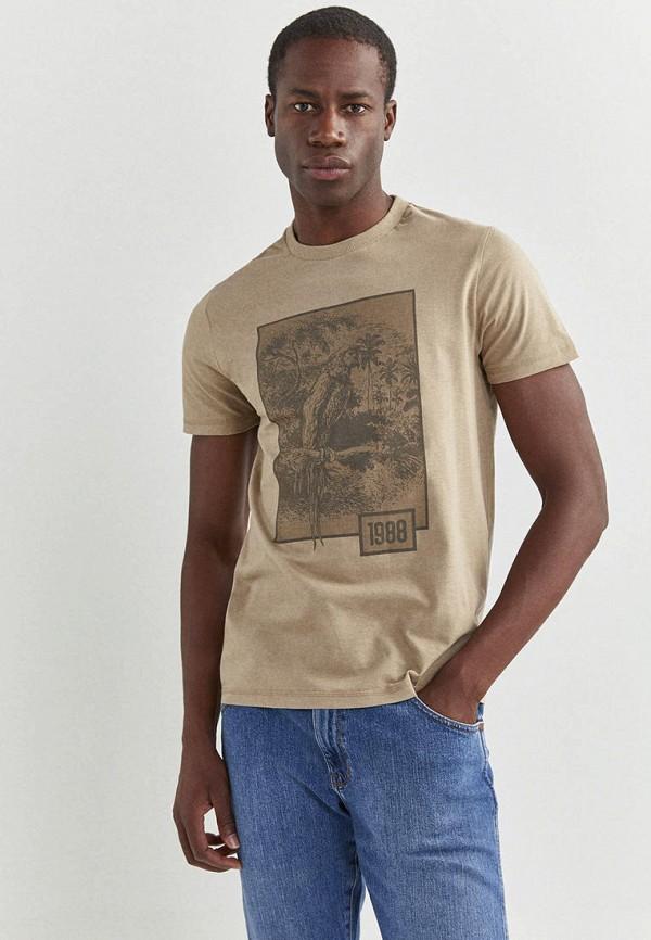 мужская футболка с коротким рукавом springfield, коричневая
