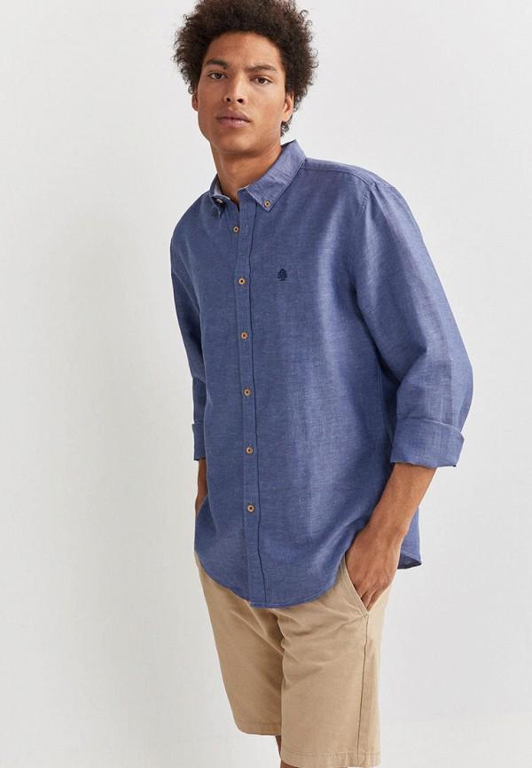мужская рубашка с длинным рукавом springfield, синяя