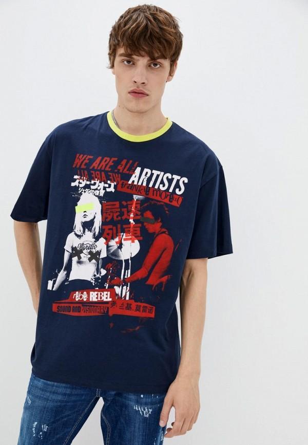 мужская футболка с коротким рукавом frankie morello, синяя