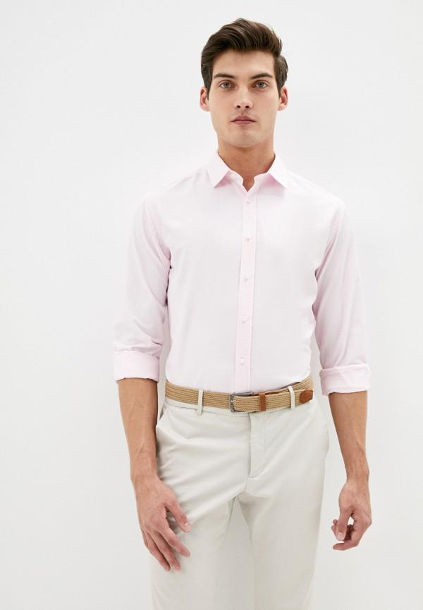 мужская рубашка с длинным рукавом bazioni, розовая