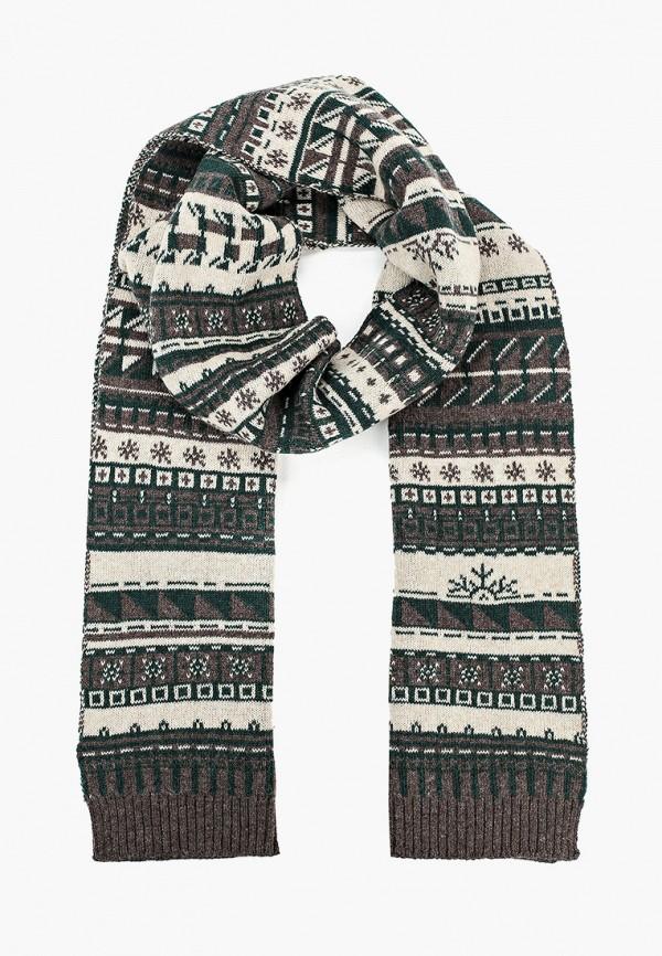 мужской шарф снег идёт, коричневый