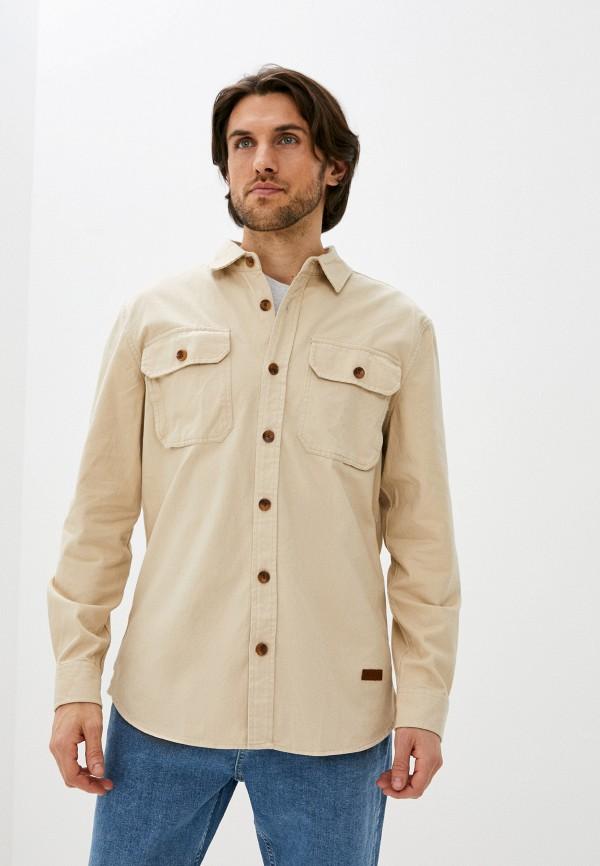 мужская рубашка с длинным рукавом zolla, бежевая