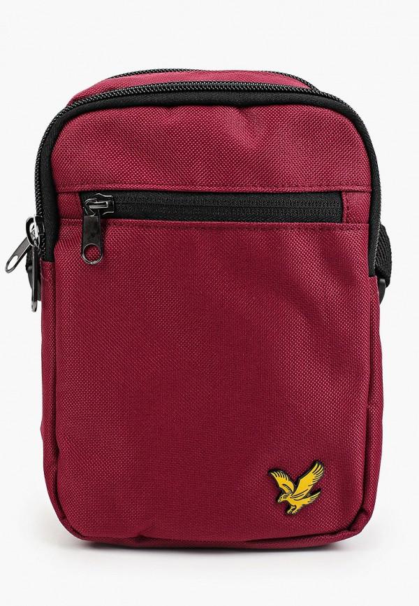 мужская сумка через плечо lyle & scott, бордовая