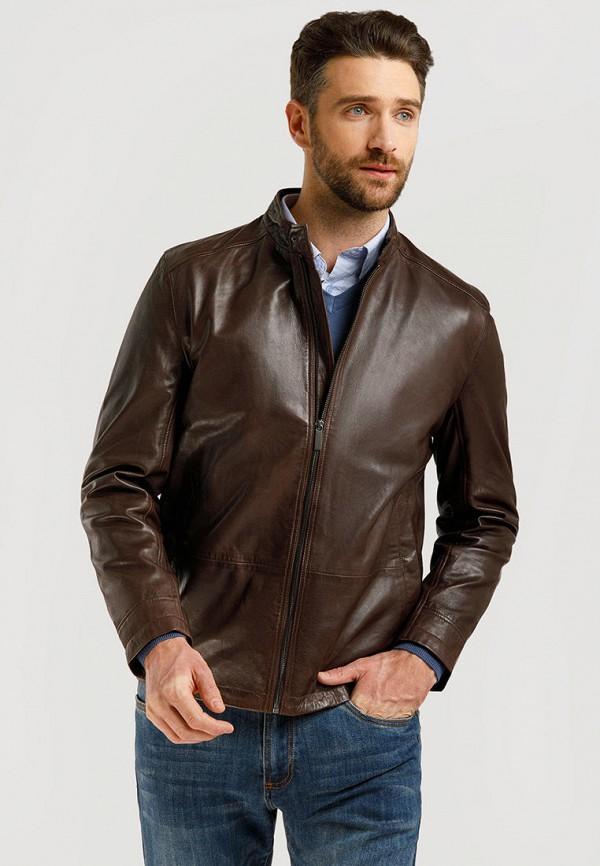Куртка кожаная Finn Flare коричневого цвета