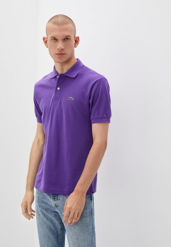 мужское поло с коротким рукавом lacoste, фиолетовое