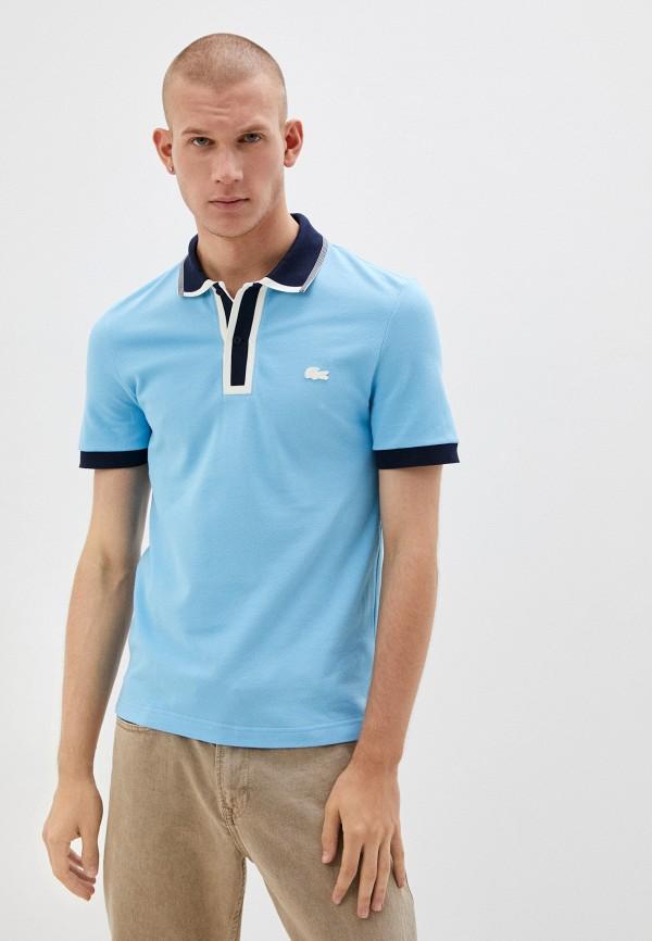 мужское поло с коротким рукавом lacoste, голубое