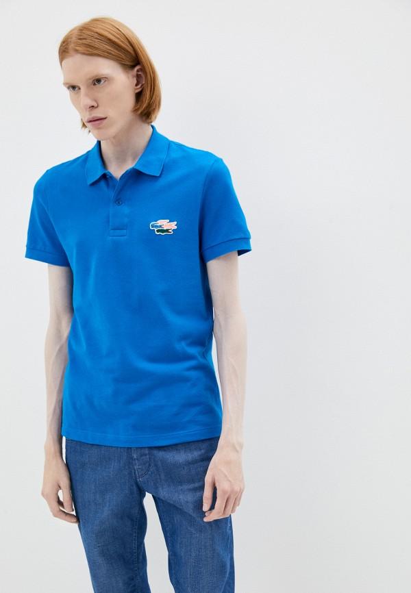 мужское поло с коротким рукавом lacoste, синее