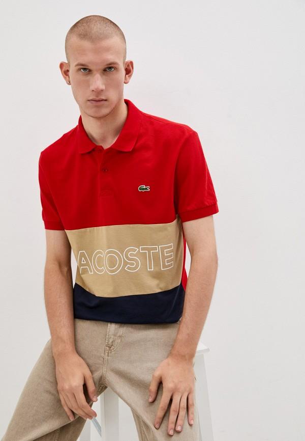 мужское поло с коротким рукавом lacoste, красное