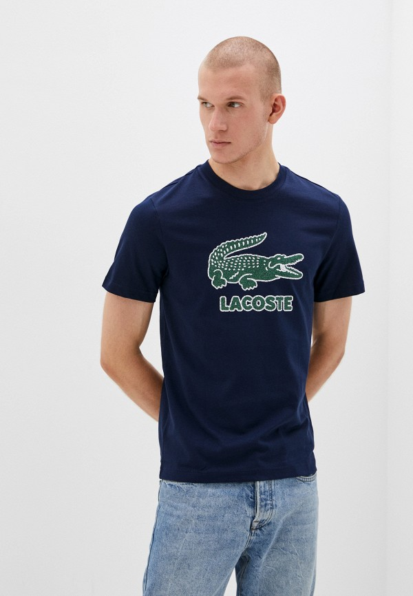 мужская футболка с коротким рукавом lacoste, синяя