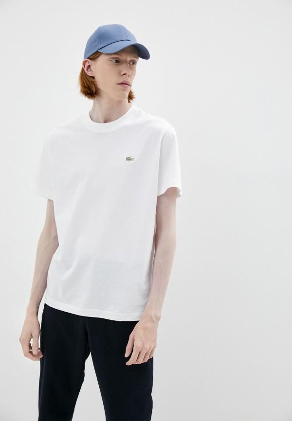 мужская футболка с коротким рукавом lacoste, белая