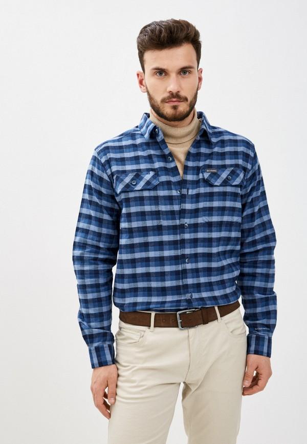 мужская рубашка с длинным рукавом columbia, голубая
