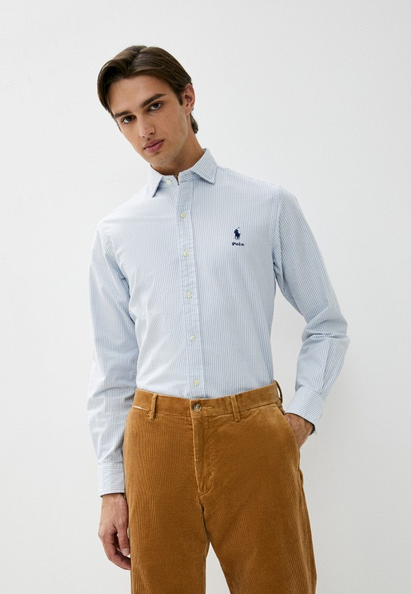 мужская рубашка с длинным рукавом polo ralph lauren, голубая