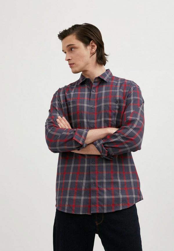 мужская рубашка с длинным рукавом finn flare, синяя