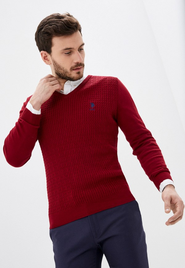 мужской пуловер u.s. polo assn, бордовый