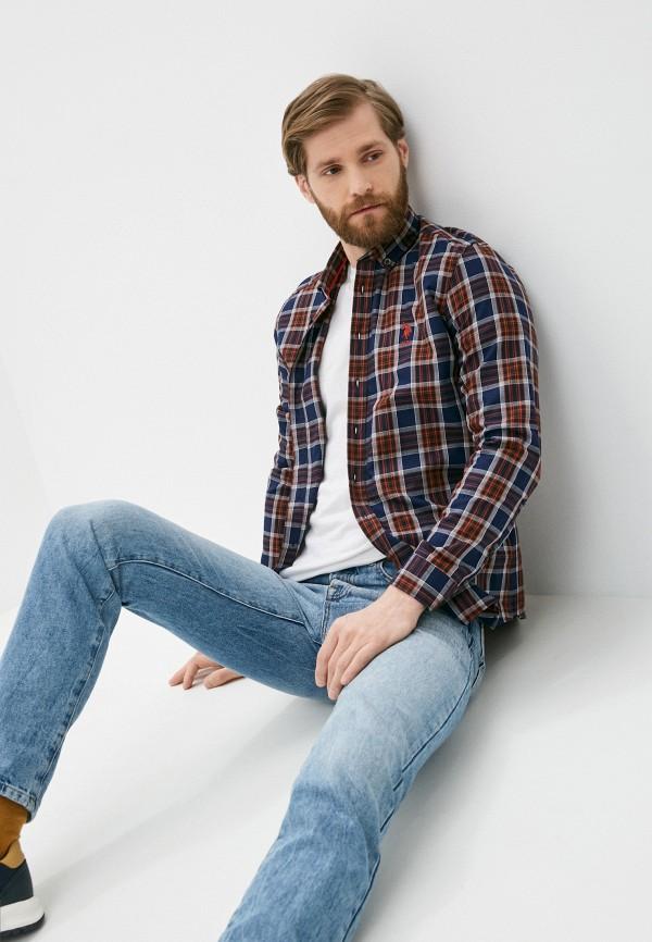 мужская рубашка с длинным рукавом u.s. polo assn, синяя