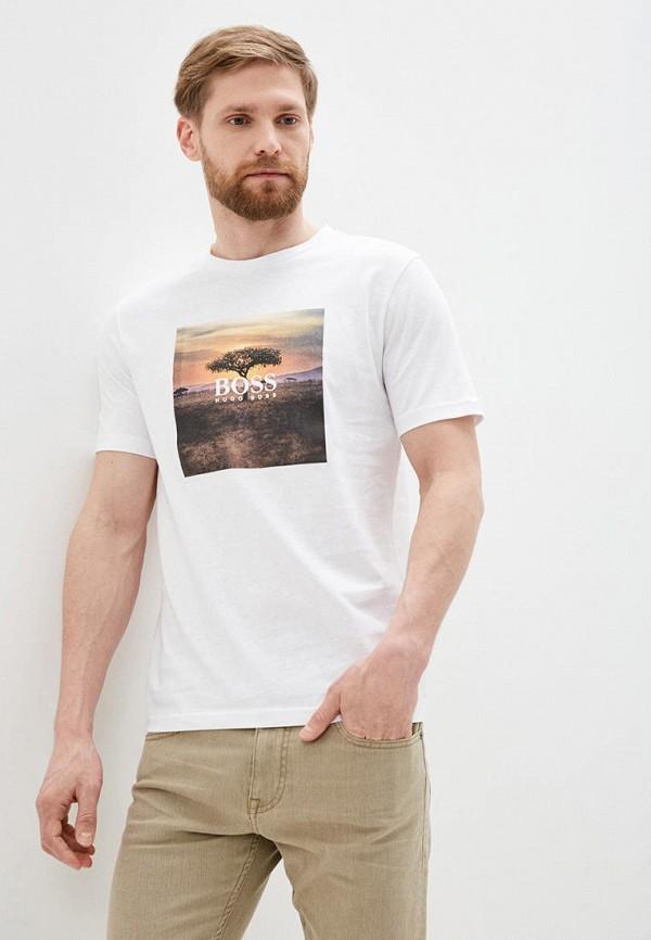 мужская футболка с коротким рукавом boss, белая