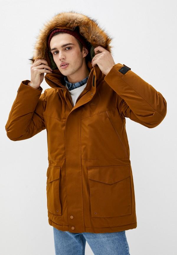 мужская утепленные куртка lacoste, коричневая